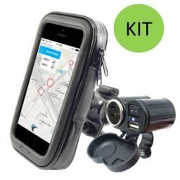 Kit Motoboy Tomada USB 5v 12v Moto Carrega Celular Gps + Suporte Celular Prova De Água