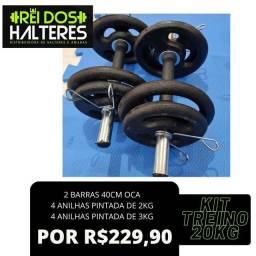 Kit 20Kg Anilhas de Ferro mais Halteres apenas R$ 229,90, peso, treino, musculação
