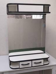 Espelho p/ salão,  bancada c/ iluminação e gavetas