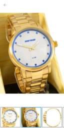 Relógio Mormaii Dourado Feminino Mostrador Degradê Azul ZERO CAIXA