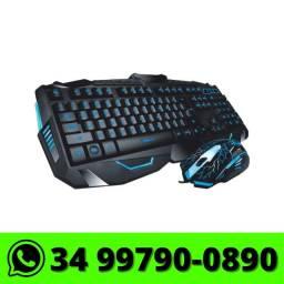Kit Teclado e Mouse Usb Gamer B-max Led Rgb