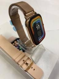 Smartwatch P8plus + Pulseira de aço Rose Gold