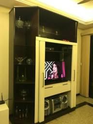 Estante para sala de visitas TV toda em madeira e vidro
