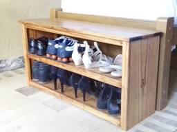 Banco Porta sapatos Rustico Madeira Maciça 90-cm