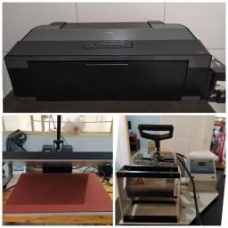 Impressora, prensa plana e prensa de caneca.