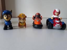 4 bonecos do desenho animado patrulha canina