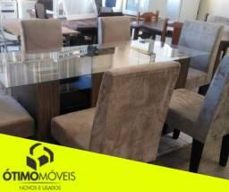 Mesa com 6 cadeiras almofadas tampo de vidro de 2500,00 por 1799,99 em 10x sem juros