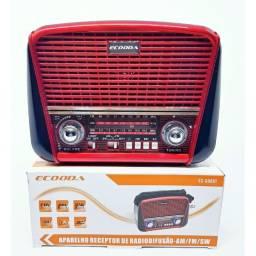 Rádio Retrô Ecooda Ec 008bt Usb/ Cartão De Memória Am E Fm