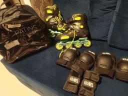 Patins Oxer Freestyle e Kit de proteção