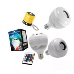 Kit 2 lâmpadas led RGB com Bluetooth e caixa de som portátil ws887