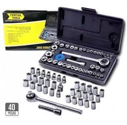 Kit completo jogo de chaves soquete 40 peças