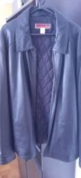 Casaco de couro legitimo preto grande masculino