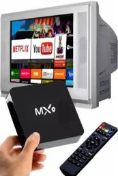 TV Box atualizado Android 10.1 RAM 04 GB memória interna de 64 GB transforma sua TV