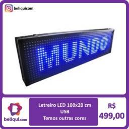 Título do anúncio: R$ 499 Letreiro Painel LED Digital   Azul  100x20 USB