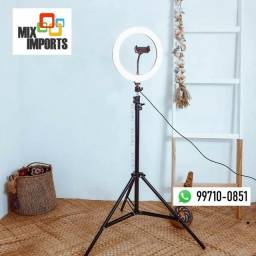 Iluminação Ring light Anel Luz Led 26cm + Suporte Tripé 2 metros (Novo, aceito cartão)