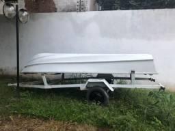 Barco em Fibra com motor Mercury 15HP + Carrocinha - 1997