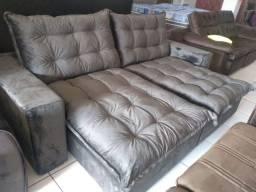 Sofá retrátil e reclinável 2,50 de fibra