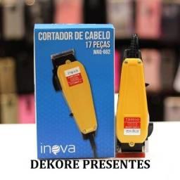 Maquina Cortar Cabelo Barba Pezinho Pelos Inova com 15 peças - Original