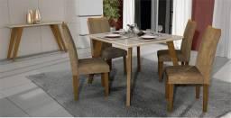 Mesa 4 Cadeiras Lavínia MDF com vidro 90x90