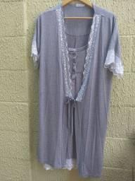 Camisola com robe amamentação P veste maior tb