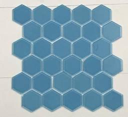 Título do anúncio: Pastilha de Vidro 30x30 Hex Celestial Blue
