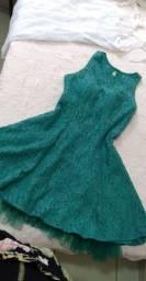 Vestido de renda azul tiffany escuro