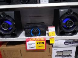 Som Sony c/ 1.600 RMS, bluetooth, USB, CD, rádio, karaokê,