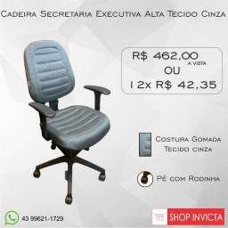 Cadeira para Escritório Secretária Alta Tecido Cinza / Nova / Invicta Office