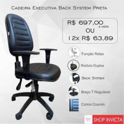 Cadeira para Escritório Executiva com Back System Couvin Preto / Nova / Invicta Office