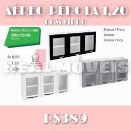 armário aéreo triplo com vidro barato