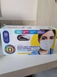 Máscara Cirúrgica 50un Tripla Camada Clip Nasal