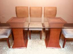 Jogo De Jantar Completo (2 m x 1 m) / Com 8 Cadeiras / Vidro Bisotado + Tapete (3 m x 2 m)