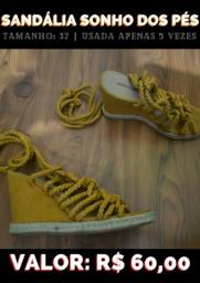 Sandália salto anabela, amarela