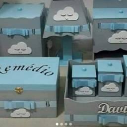 kit higgiene completo 8 pecas tema nuvem