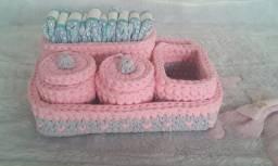 Título do anúncio: Kit higiene bebê em fio de malha