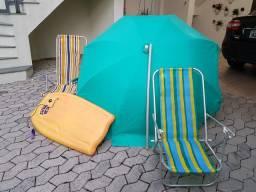 Kit Praia (guarda sol + 2 cadeiras + prancha)