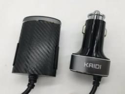 Carregador Veicular Com Extensor 4 Portas USB 5.1A Kaidi KD-401 Novo Na Caixa