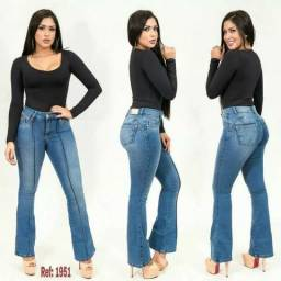 e60f7ff134 Calça Jeans Feminina Flare Levanta Bumbum Cintura alta