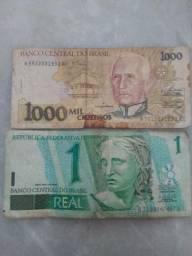 Cédula de 1 real e de 1000 cruzeiros