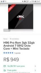H96 pró 3GB é 32 memória interna e controle ipega