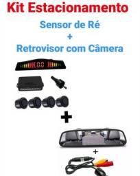 Kit Estacionamento Sensor de Ré+Retrovisor Câmera