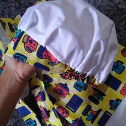 4 kits confeiteiro ( 1 touca e uma saia avental em cada kit)