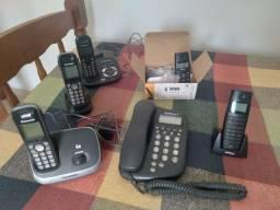 Lote telefones intelbras e Panasonic com Secretaria Eletrônica