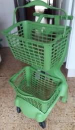 Carrinho supermercado plástico duplo cesto usado