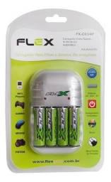 Carregador Rápido Automático + 4 Pilhas Aa Flexgold 2900mah