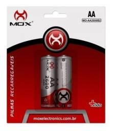 Pilha Recarregavel Bateria Aa 2600 Mah 2 Pilhas Mox