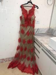 Vestido festa com renda bordado