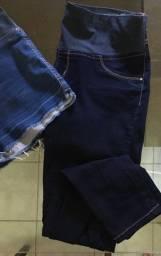 Calça e short jeans para gestantes