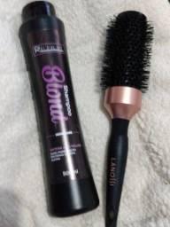 Shampoo anti amarelo e escova de cabelo
