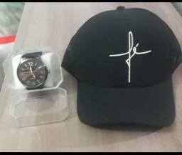 Kit boné e relógio